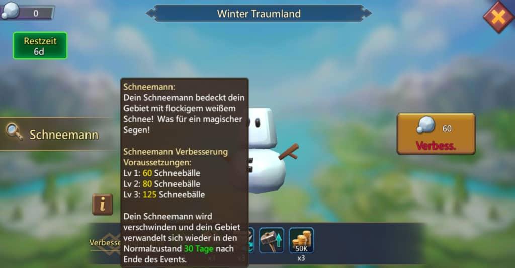 Die Schneemann Verbesserungsstufen im Winter Gala Event